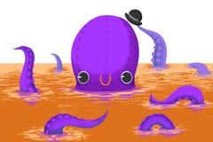 Illustration für Kinder: Der große Kraken-Herr sagen zu Ihnen Guten Tag! vektor abbildung