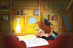 Illustration für Kinder: Der kleine Doktor ist, denkend lesend und in der Studie nachts stock abbildung