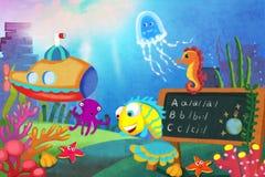 Illustration für Kinder: Lassen Sie uns unsere Lektion beginnen! Der kleine Fisch steht zuerst einem Lehrer in der Seeschule lizenzfreie abbildung