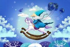 Illustration für Kinder: Und alter netter Magier fliegt, indem er auf einen hölzernen Pferdestuhl fährt Lizenzfreie Stockfotografie