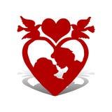 Illustration für Valentinsgruß ` s Tag, liebevolles Paar, im Herzen mit t stock abbildung
