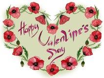 Illustration für Valentinsgrußkarte Rote Mohnblumenblumen machen einen Herz geformten Rahmen mit Zeichen glücklichem Valentinsgru Lizenzfreies Stockfoto