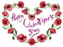 Illustration für Valentinsgrußkarte Rote Mohnblumenblumen machen einen Herz geformten Rahmen mit Zeichen glücklichem Valentinsgru Lizenzfreie Stockfotos