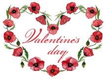 Illustration für Valentinsgrußkarte Rote Mohnblumenblumen machen einen Herz geformten Rahmen mit Zeichen Valentinsgruß ` s Tag au Lizenzfreies Stockbild