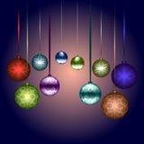 Illustration für Weihnachten und neues Jahr mit mehrfarbigem glänzendem Lizenzfreie Stockfotos