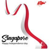 Illustration f?r vektor f?r Singapore sj?lvst?ndighetsdagenber?m royaltyfri illustrationer