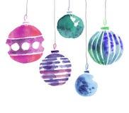 Illustration fabriquée à la main d'aquarelle d'ampoules de Noël Photographie stock
