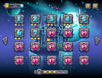 Illustration fabulous space with cheerful planets with the example screen levels, the game interface with a progress bar, panel ob Stock Images