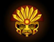 Ceremonial indian latin american man. Illustration of the face of ceremonial Indian man of Latin America in golden tones Stock Photos