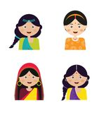 Illustration of the face  an Indian girls in colorful sari. Illustration of the face of an Indian girls in colorful sari, vector illustration Royalty Free Stock Images