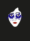 Illustration face of silent film actress with blue shadows. Vector illustration face of silent film actress with blue shadows Royalty Free Stock Image