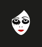 Illustration face of silent film actress with curly shadows. Vector illustration face of silent film actress with curly shadows Royalty Free Stock Image