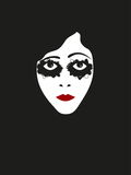 Illustration face of silent film actress. Vector illustration face of silent film actress Stock Image