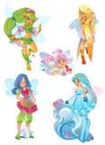 Illustration of fairies set on white Royalty Free Stock Image