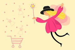 Illustration of a fairy girl. Vector flat style. Make online purchases stock illustration