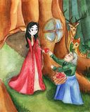 Illustration for the fairy tale Snow White. royalty free illustration