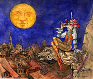 Illustration for Fairy tale story. Old town roofs, elf and moon Stock Image