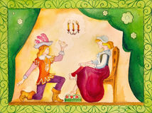 Illustration for the fairy tale, watercolor. Performed in Russian style Royalty Free Stock Photography