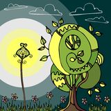 Illustration of the fairy tree and lantern at night. Royalty Free Stock Photography