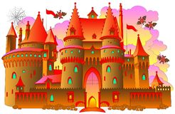 Illustration of a fairyland fantasy castle. Vector cartoon image. Scale to any size without loss of resolution Stock Images