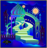 Illustration of fairyland fantasy castle. Vector cartoon image. Scale to any size without loss of resolution Stock Images
