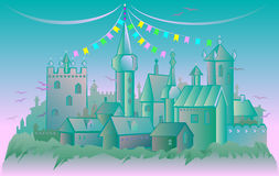 Illustration of fairyland fantasy castle. Vector cartoon image. Scale to any size without loss of resolution Royalty Free Stock Image