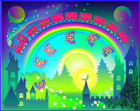 Illustration of Fairyland fantasy kingdom with rainbow in the sky. Stock Images