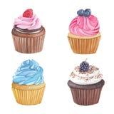 Illustration faite main d'aquarelle des petits gâteaux Photos stock