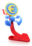 Illustration of the Falling Euro. Euro Coin-Man sliding down on the red trend arrow. 3D rendered image Stock Image