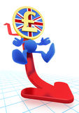 Illustration of the falling UK Pound Sterling. Pound Coin-Man sliding down on the red trend arrow. 3D rendered image stock illustration