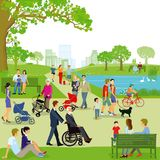 Illustration of families in park Stock Photography