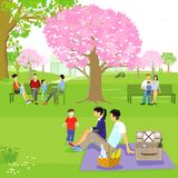 Families sat in spring park. Illustration of families sat in spring park with blossom on cheery trees Royalty Free Stock Photo