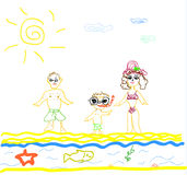 Illustration of A Family on Beach on white backgro Royalty Free Stock Photo