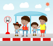 Illustration of the Family at the bus stop, A vector illustration of Family waiting at a bus stop. Waiting at Bus Stop Royalty Free Stock Images