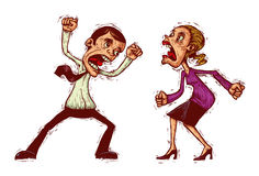 Illustration of family conflict. Couple conflict, man and woman shouting at each other Royalty Free Stock Photography