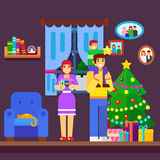 Illustration of Family Decorating a Christmas Tree Royalty Free Stock Image