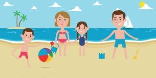 Illustration Of Family Enjoying Beach Vacation Together Stock Photography