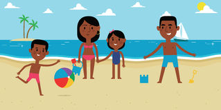 Illustration Of Family Enjoying Beach Vacation Together Royalty Free Stock Images
