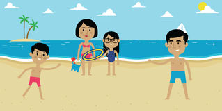 Illustration Of Family Enjoying Beach Vacation Together Royalty Free Stock Photo