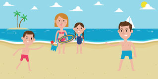 Illustration Of Family Enjoying Beach Vacation Together vector illustration