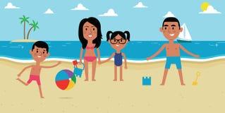 Illustration Of Family Enjoying Beach Vacation Together royalty free illustration