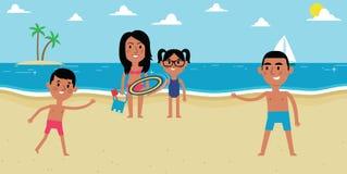 Illustration Of Family Enjoying Beach Vacation Together Stock Image