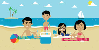 Illustration Of Family Enjoying Picnic On Beach Together Royalty Free Stock Photography