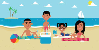 Illustration Of Family Enjoying Picnic On Beach Together Stock Photo