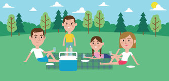 Illustration Of Family Enjoying Picnic In Park Together Royalty Free Stock Photography
