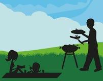 Family having a picnic. Illustration of a family having a picnic Stock Image