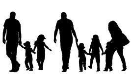 Illustration of family holding hands Stock Photo