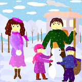 Illustration of family outdoors in winter Stock Photos