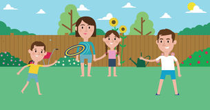 Illustration Of Family Playing With Frisbee In Garden royalty free illustration