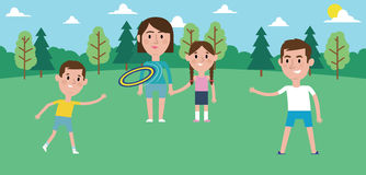 Illustration Of Family Playing With Frisbee In Park Together vector illustration